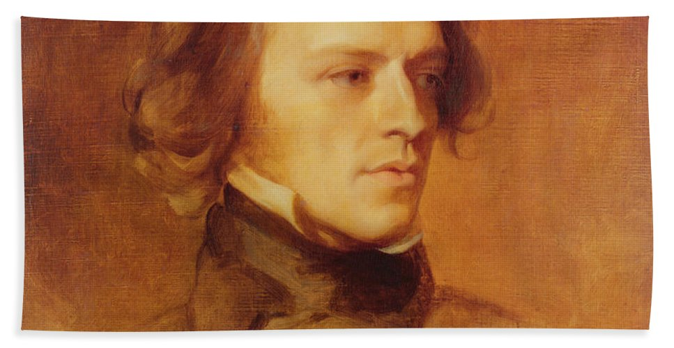Portrait Beach Towel featuring the painting Portrait Of Alfred Lord Tennyson by Samuel Laurence
