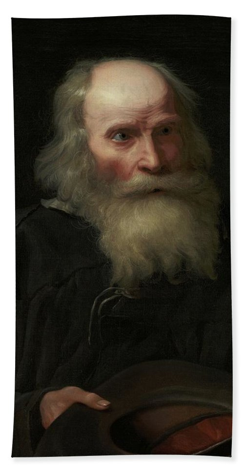 Man Beach Towel featuring the painting Portrait Of An Old Man Begging By Michael Sweerts by Artistic Rifki