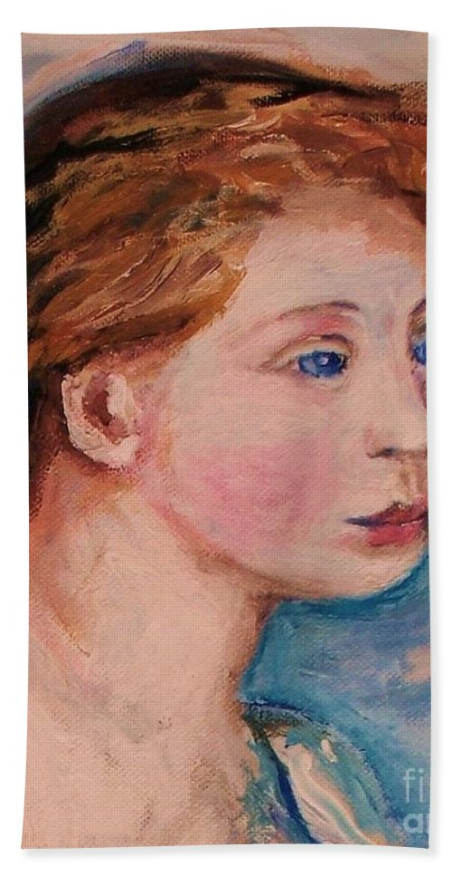 Portraits Beach Towel featuring the painting Portrait Of Country Girl by Eric Schiabor