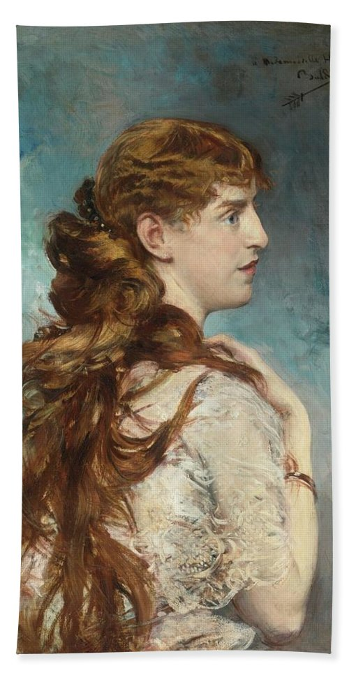 Giovanni Boldini Beach Towel featuring the painting Portrait Of Harriet Valentine by Giovanni Boldini