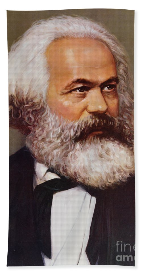 Portrait Of Karl Marx (1818-93) C.1970 (chromolitho) Karl Beach Towel featuring the painting Portrait Of Karl Marx by Unknown