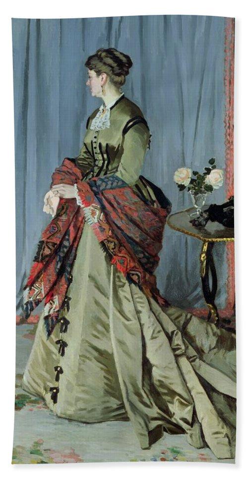 Claude Monet Beach Towel featuring the painting Portrait Of Madame Louis Joachim Gaudibert by Claude Monet