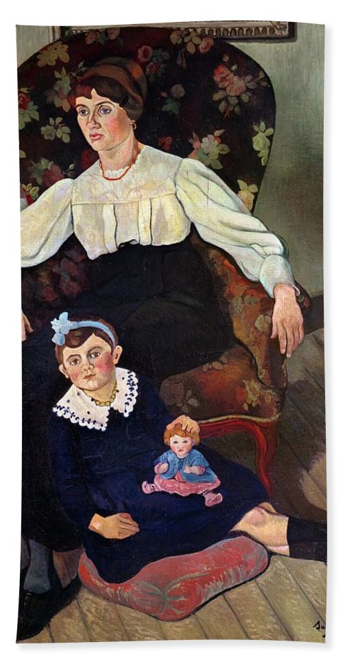 Portrait Beach Towel featuring the painting Portrait Of Marie Coca And Her Daughter by Marie Clementine Valadon