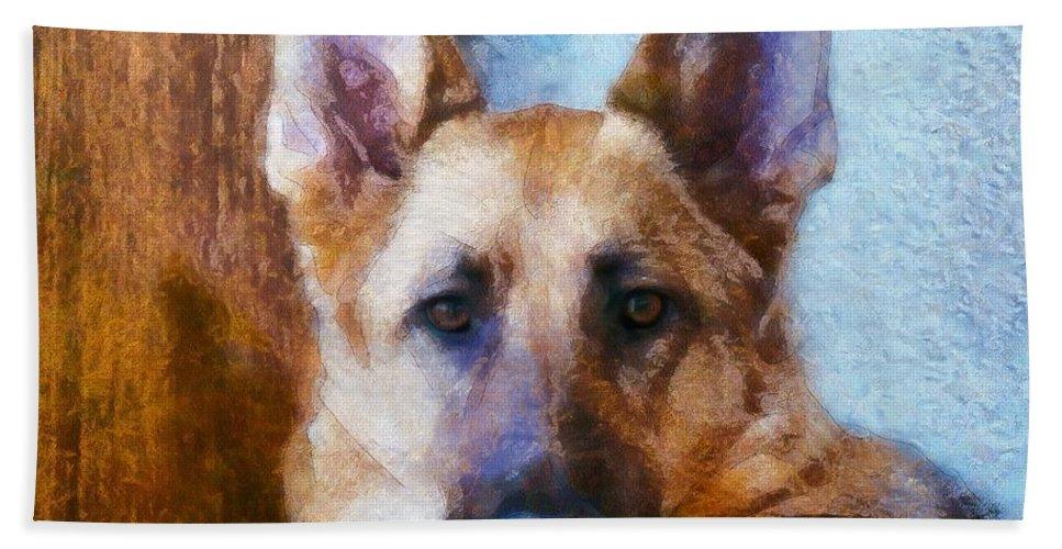 Dogs Beach Towel featuring the digital art Portrait Of My Friend 2015 by Kathryn Strick