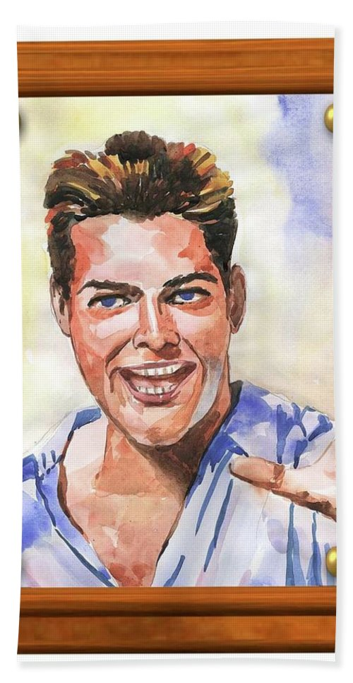 Portrait Study Beach Towel featuring the painting Portrait Of Ricky Martin by Salahuddin Shaikh