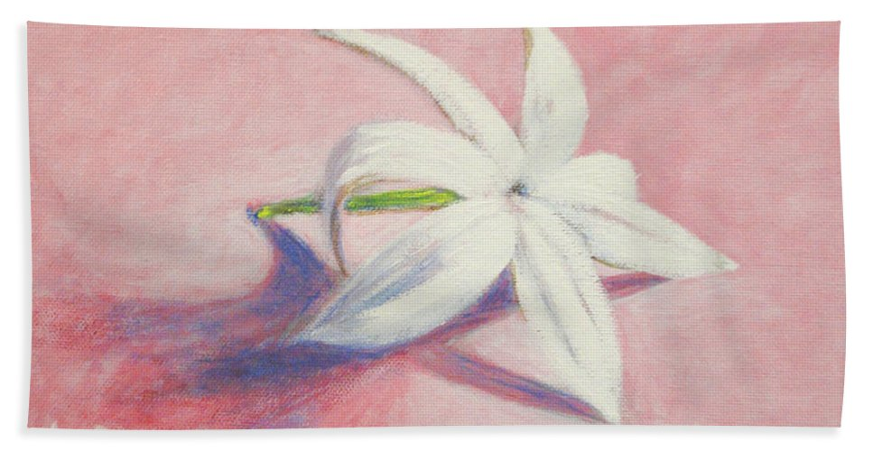 Portrait Beach Towel featuring the painting Portrait Of The Jasmine Flower by Usha Shantharam