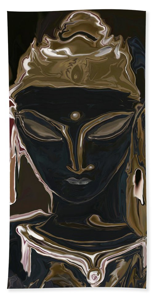 Art Beach Towel featuring the digital art Portrait Of Vajrasattva by Rabi Khan