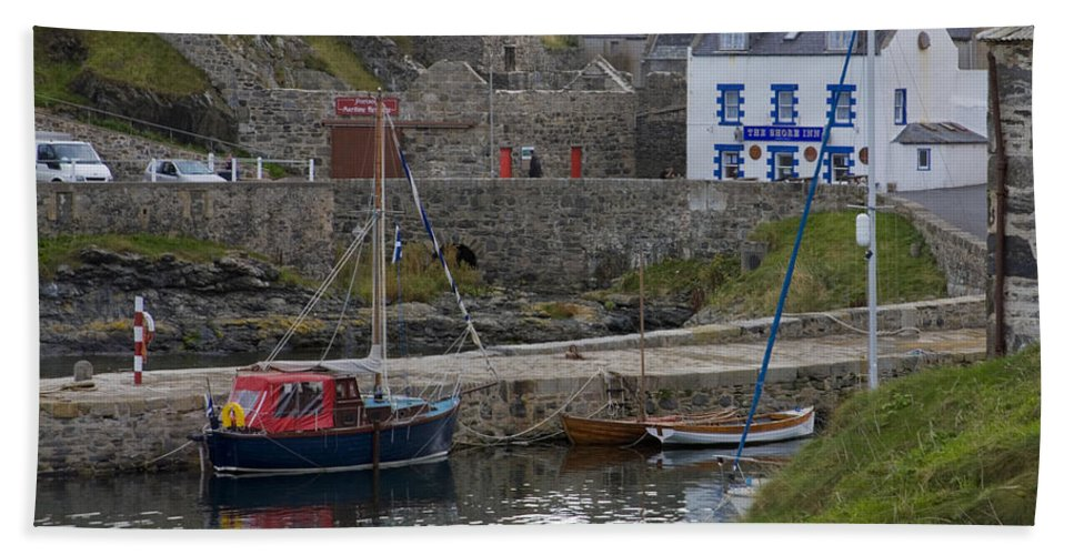 Portsoy Beach Towel featuring the photograph Portsoy Harbour by Diane Macdonald
