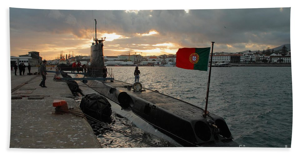 Harbor Beach Towel featuring the photograph Portuguese Navy Submarine by Gaspar Avila