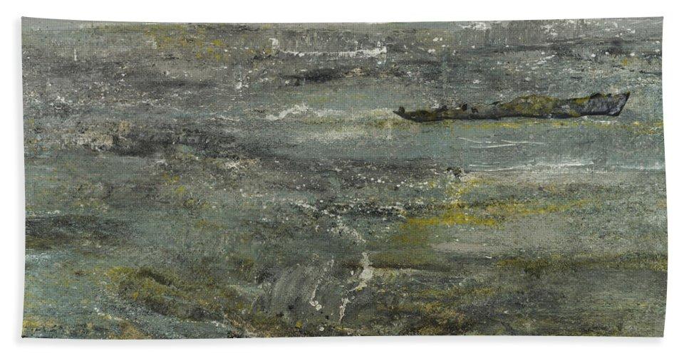 Poseidon's Sadness Beach Towel featuring the painting Poseidon's Sadness by Azem Kucana