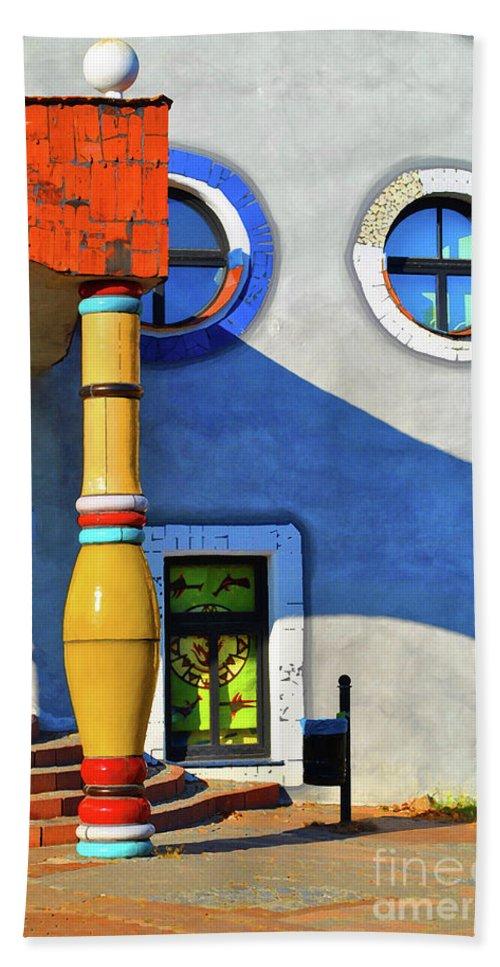 Window Beach Towel featuring the photograph Post Of Hundertwasser by Jost Houk