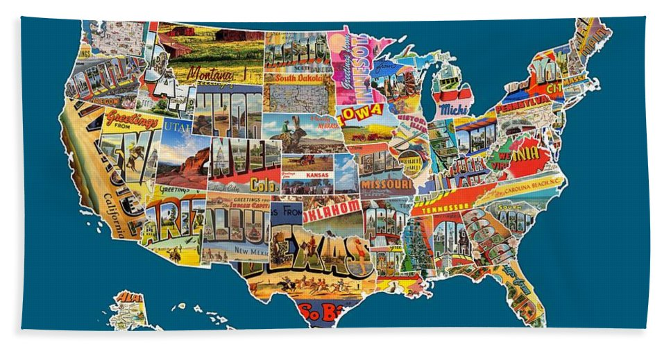 Postcards Of The United States Vintage Usa All 50 States Map Beach Towel