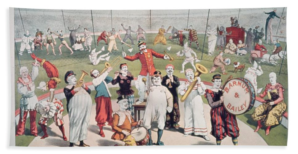 Poster Advertising The Barnum And Bailey Greatest Show On Earth (colour Litho) 99:circus; Clowns; Clown; Act; Entertainment; Costume; Advertisement; Advert; Publicity; Performers; Performing; Acrobats; Acrobatics; Musicians; Entertainers; Musical Instruments; Poster Advertising The Barnum And Bailey Greatest Show On Earth (colour Litho) 99:circus; Clowns; Clown; Act; Entertainment; Costume; Advertisement; Advert; Publicity; Performers; Performing; Acrobats; Acrobatics; Musicians; Entertainers; Musical Instruments; Circus Beach Towel featuring the painting Poster Advertising The Barnum And Bailey Greatest Show On Earth by American School