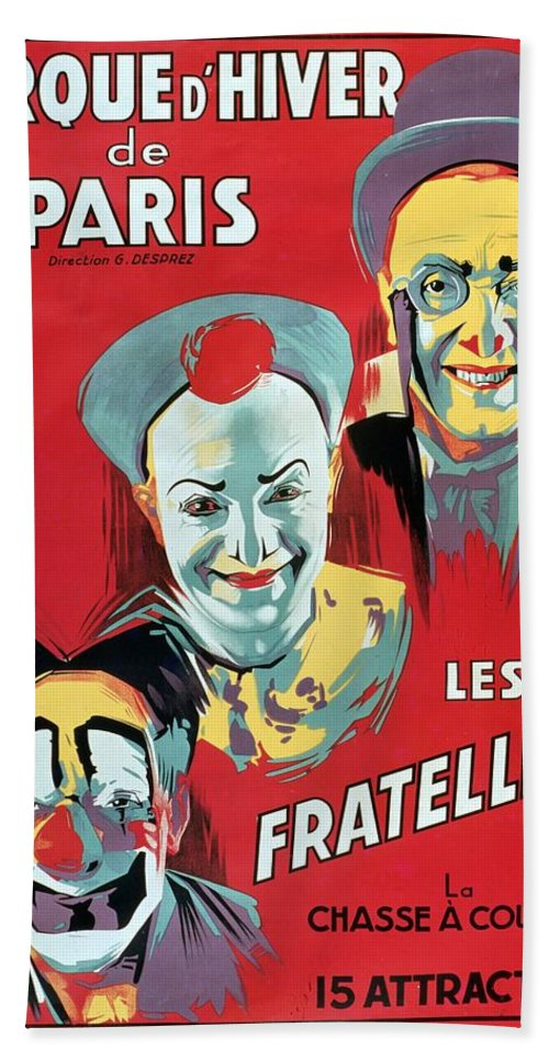 Poster Advertising The 'cirque D'hiver De Paris' Featuring The Fratellini Clowns Beach Towel featuring the painting Poster Advertising The Fratellini Clowns by French School