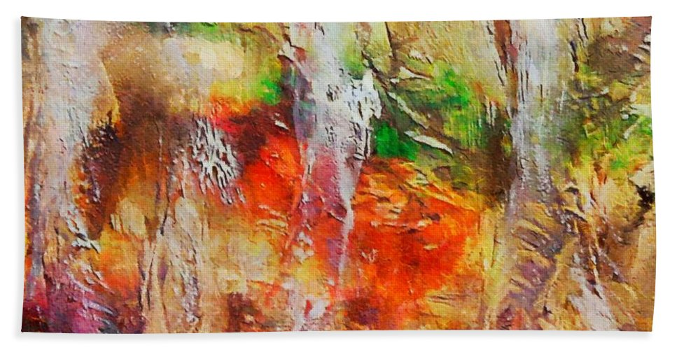 Cave Beach Towel featuring the painting Postojna Cave by Dragica Micki Fortuna