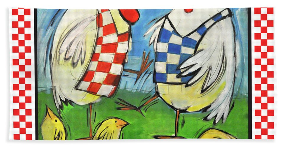 Chickens Beach Towel featuring the painting Poultry In Motion Poster by Tim Nyberg