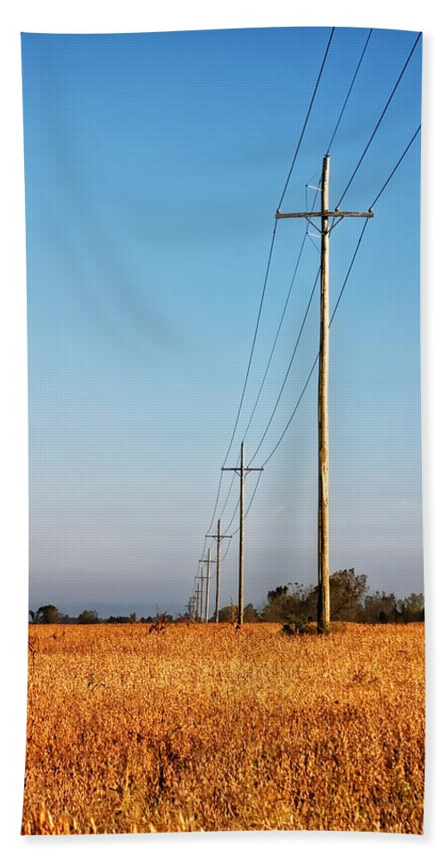 Michigan Beach Towel featuring the photograph Power Lines At Sunrise by Lars Lentz
