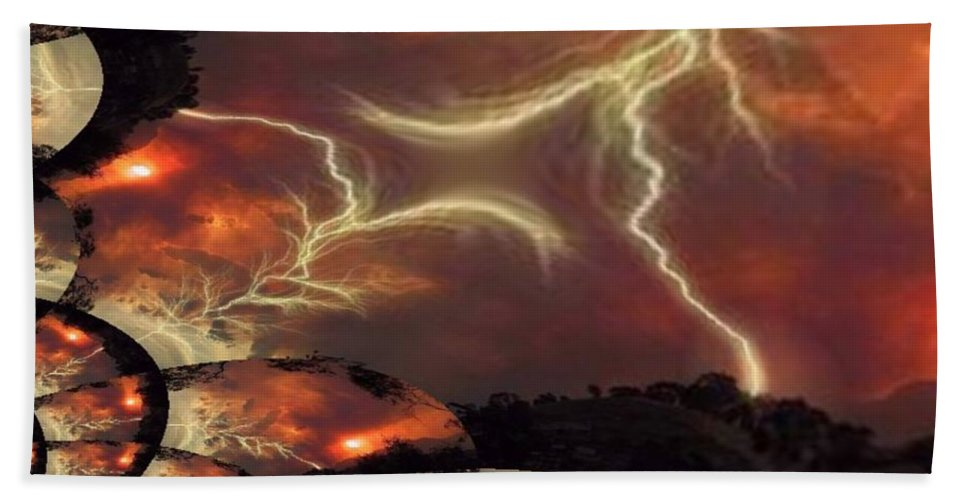 Lightning Beach Towel featuring the photograph Power Punch by Tim Allen