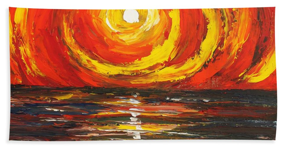 Power Beach Towel featuring the painting Power Source by Angel Reyes