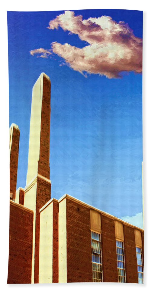 Factory Beach Towel featuring the painting Power Station by Dominic Piperata
