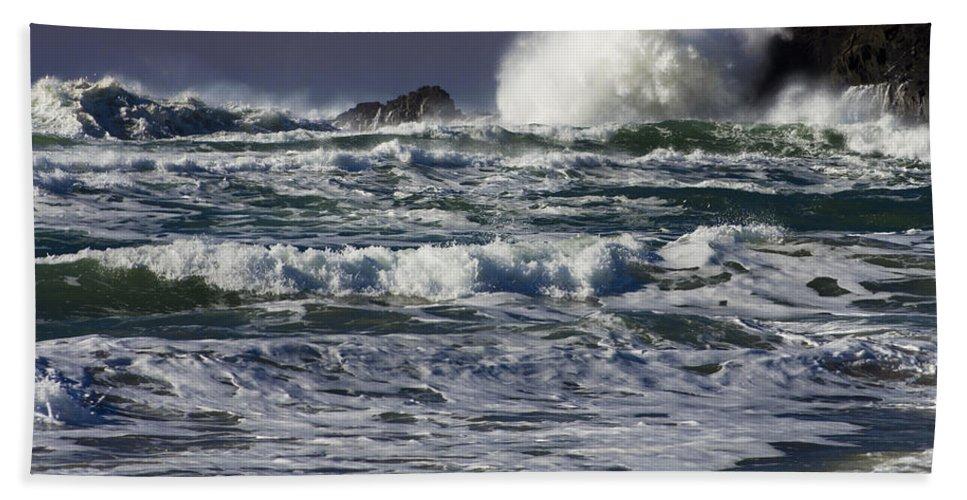 Cannon Beach Beach Towel featuring the photograph Powerful Waves Crash Ashore by John Trax
