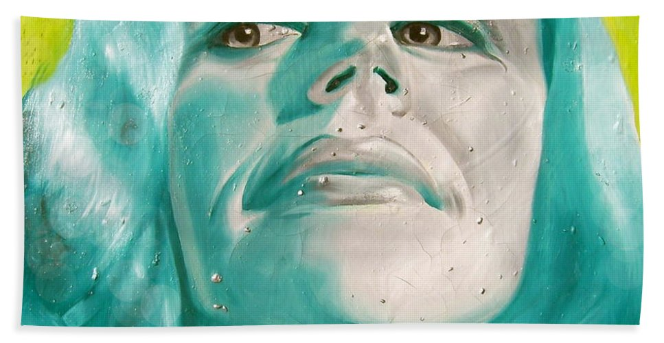 Portraiture Beach Towel featuring the painting PR by Laura Pierre-Louis