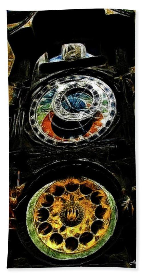 Prague Beach Towel featuring the digital art Prague Clock by Joan Minchak