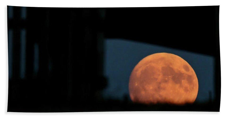 Prairie Full Moon Seen Through An Old Barn Beach Towel featuring the photograph Prairie Full Moon And Barn by Mark Duffy