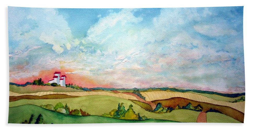 Prairie Grain Elevators Beach Towel featuring the painting Prairie Grain Elevators by Joanne Smoley