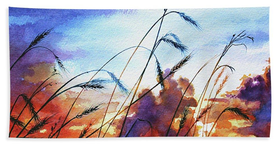 Prairie Sky Painting Beach Towel featuring the painting Prairie Sky by Hanne Lore Koehler