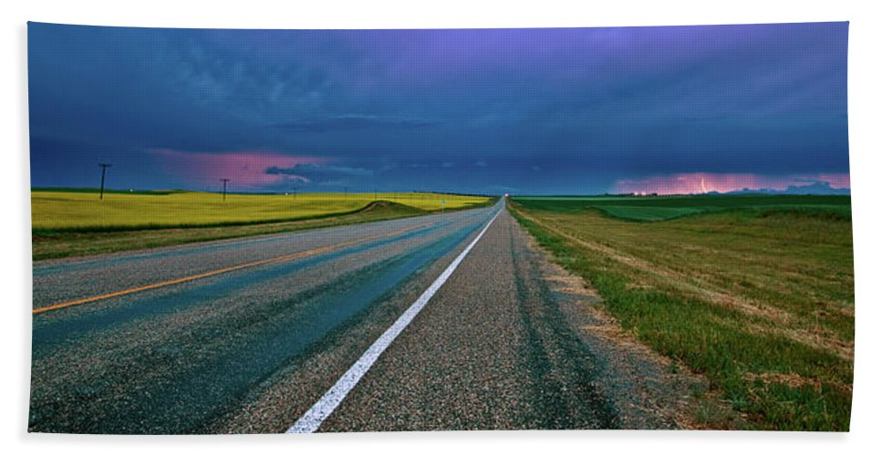 Beach Towel featuring the digital art Prairie Storm Saskatchewan by Mark Duffy