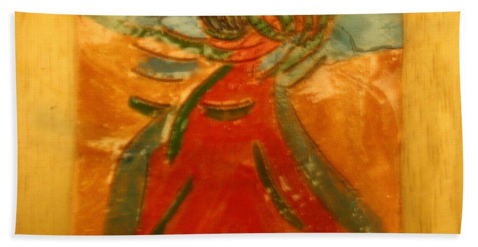 Jesus Beach Towel featuring the ceramic art Praise God - Tile by Gloria Ssali