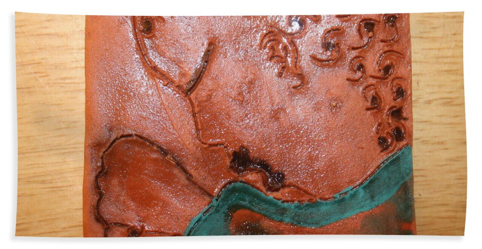 Jesus Beach Towel featuring the ceramic art Prayer 41 - Tile by Gloria Ssali