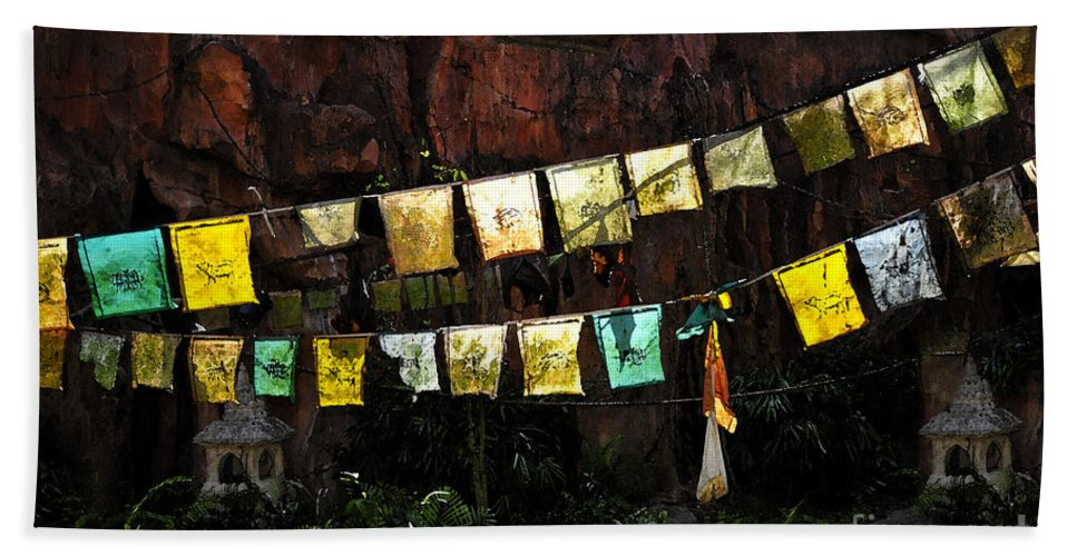Prayer Flags Beach Towel featuring the painting Prayer Flags by David Lee Thompson