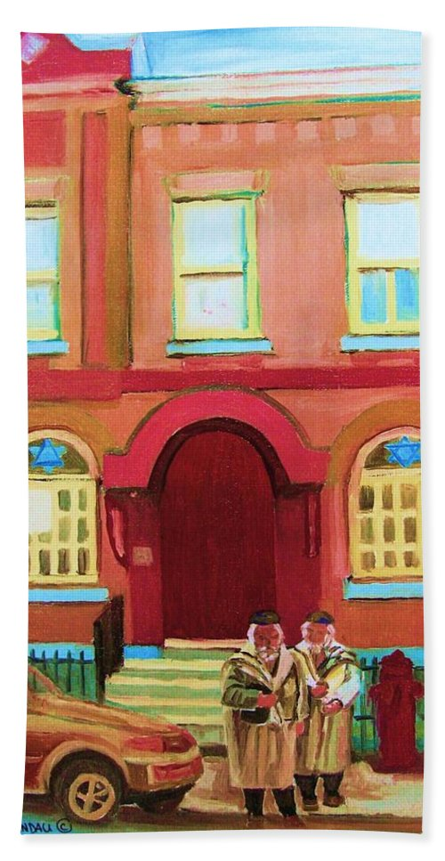 Bagg Street Synagogue Beach Towel featuring the painting Prayer Shawls by Carole Spandau
