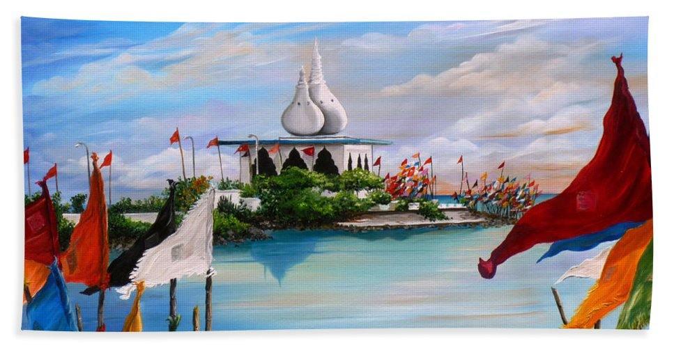 Hindu Temple Beach Towel featuring the painting Prayers At Waterloo by Karin Dawn Kelshall- Best