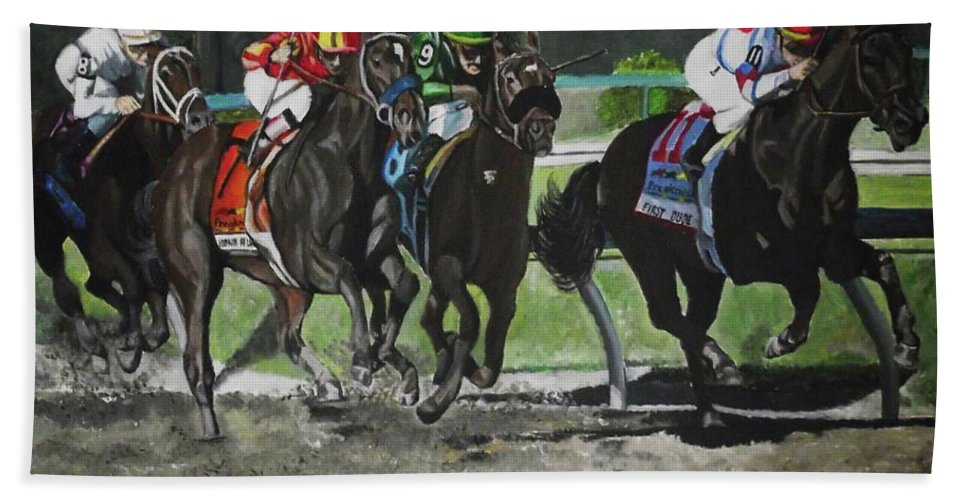 Preakness Beach Towel featuring the painting Preakness 2010 Horse Racing by Kim Selig