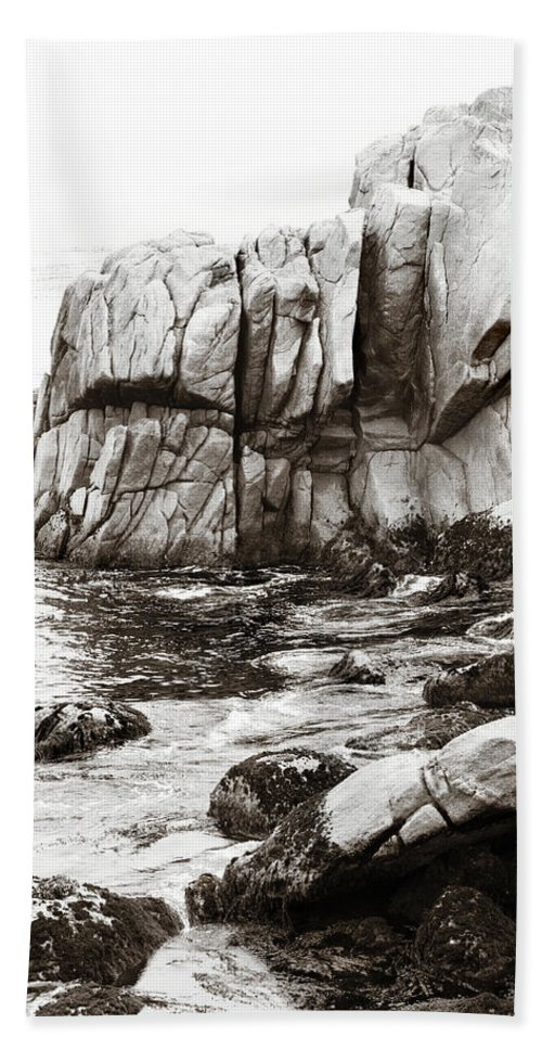Pebble Beach Beach Towel featuring the photograph Precarious At Pebble Beach by Marilyn Hunt