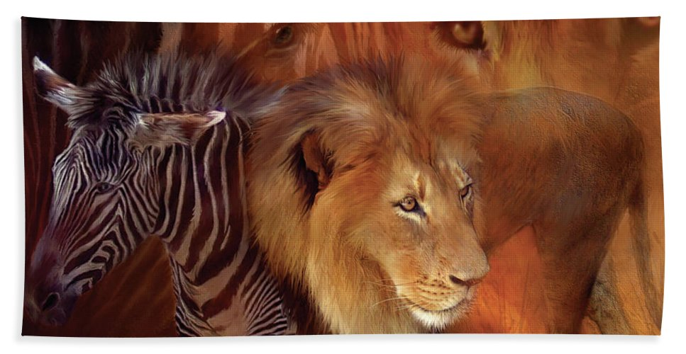 Lion Beach Towel featuring the mixed media Predator And Prey by Carol Cavalaris