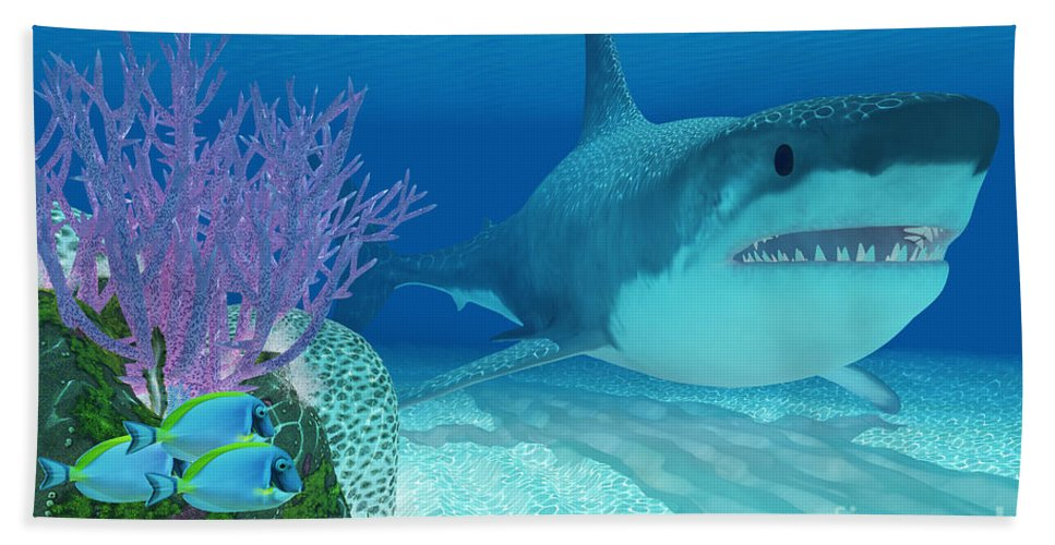 807ad3f729 Megalodon Beach Towel featuring the painting Prehistoric Megalodon Shark by  Corey Ford
