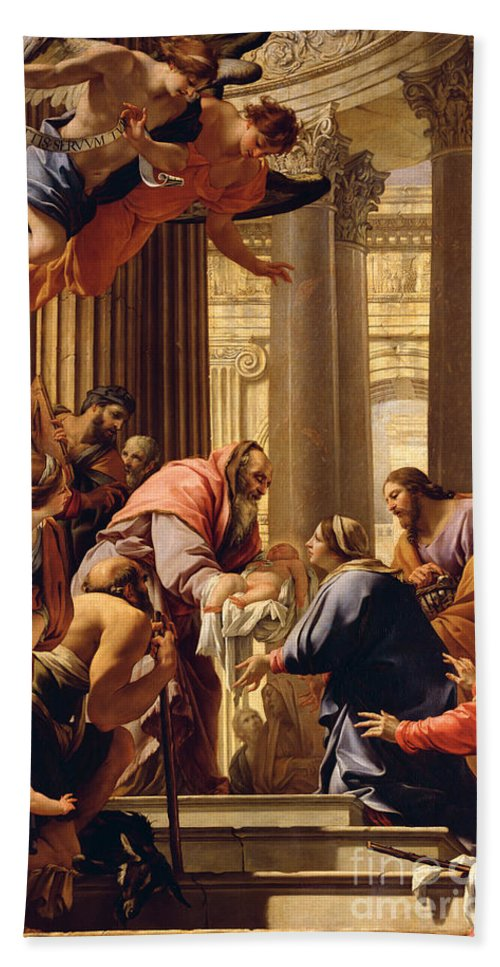 Presentation In The Temple (oil On Canvas) Jesus Christ; Mary; Joseph; Infant; Baby; Angels Beach Towel featuring the painting Presentation In The Temple by Simon Vouet