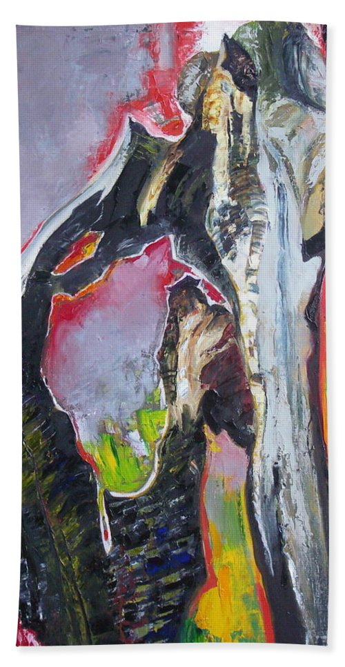 Oil Beach Towel featuring the painting Presentiment by Sergey Ignatenko