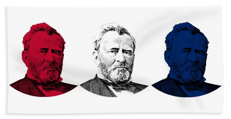 Us Grant Beach Towel featuring the digital art President Grant Red White And Blue by War Is Hell Store