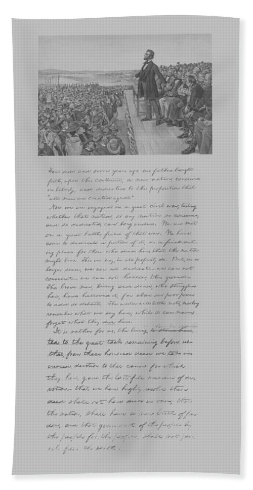 Abraham Lincoln Beach Towel featuring the mixed media President Lincoln And The Gettysburg Address by War Is Hell Store
