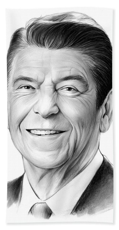 President Beach Towel featuring the drawing President Ronald Reagan by Greg Joens