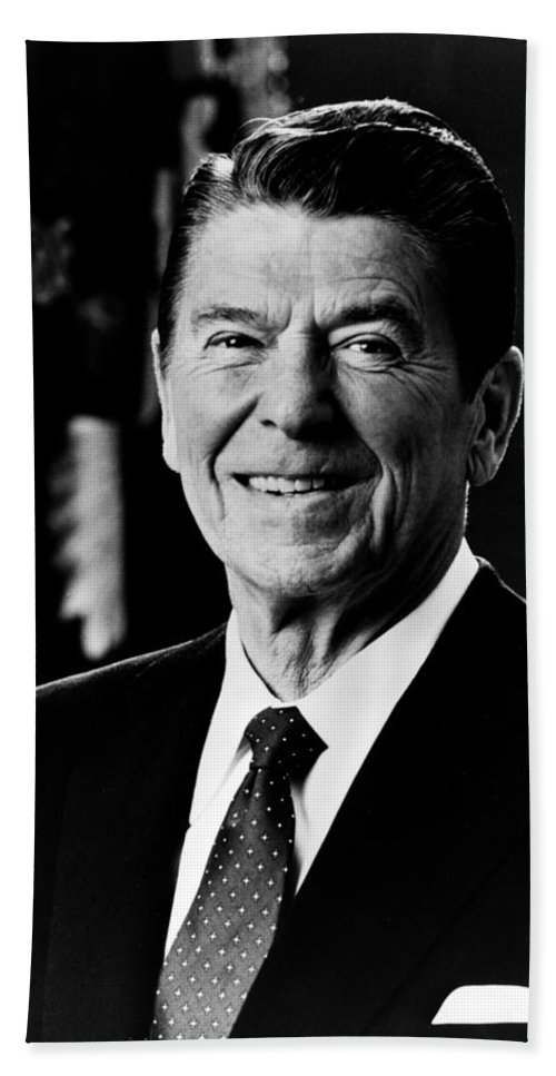 ronald Reagan Beach Towel featuring the photograph President Ronald Reagan by International Images