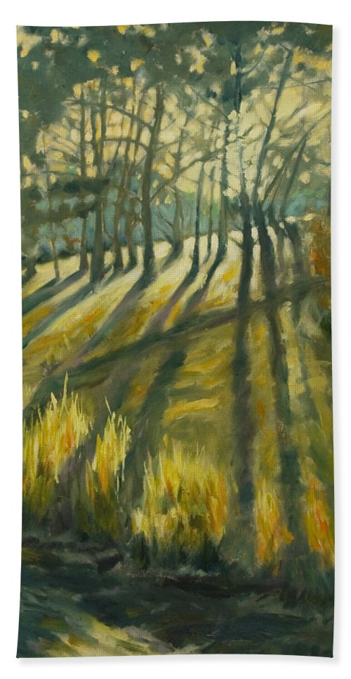 Trees Beach Towel featuring the painting Presidio by Rick Nederlof
