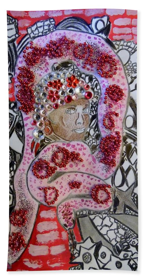 Girl Beach Towel featuring the mixed media Pretty in pink by Nicole Burrell