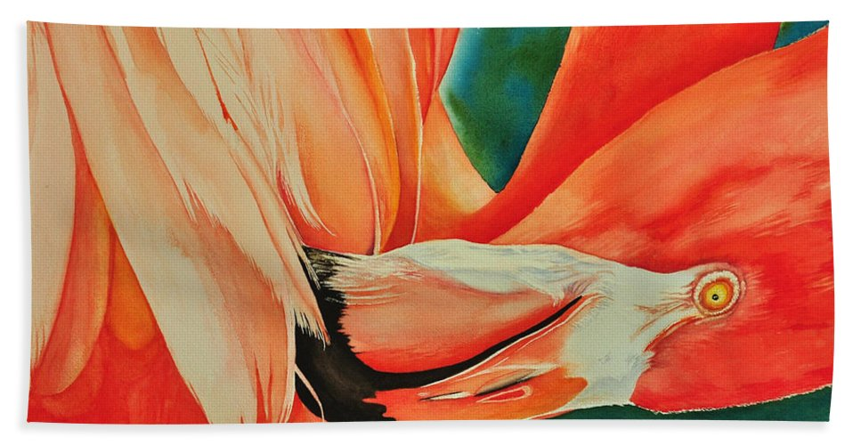 Aviary Beach Towel featuring the painting Pretty In Pink by Terry Arroyo Mulrooney