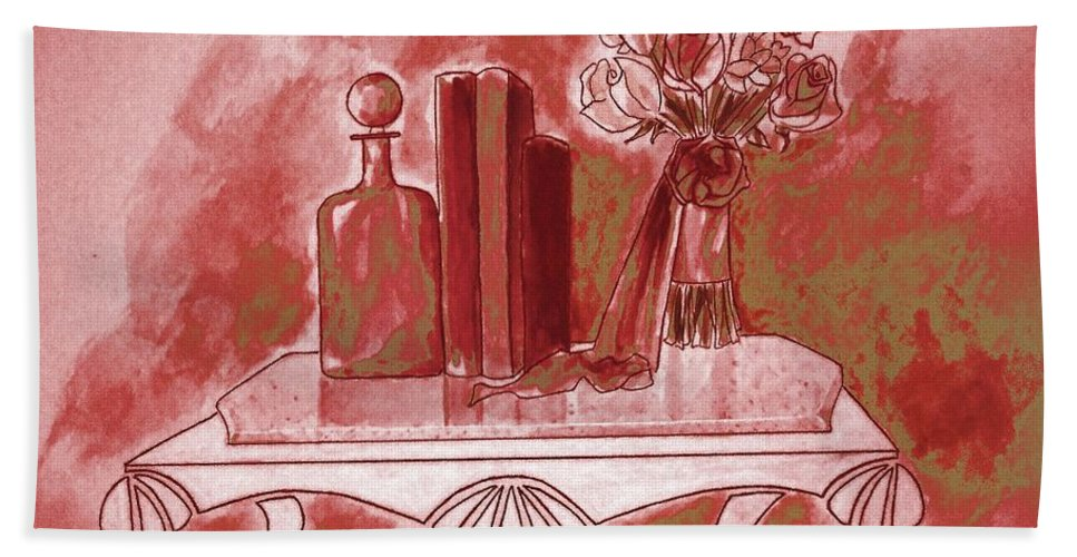 Tablescape Beach Towel featuring the painting Pretty In Red by Jayne Somogy